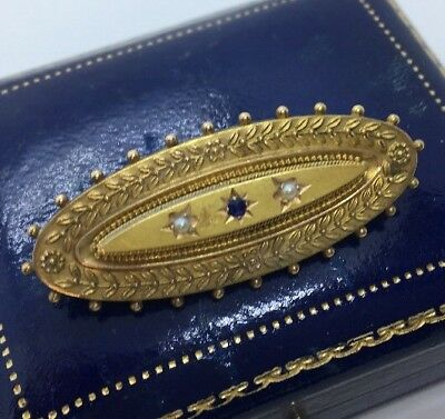 Pretty Ornate Antique Victorian Sapphire & Pearl Brooch Set In 15ct Gold
