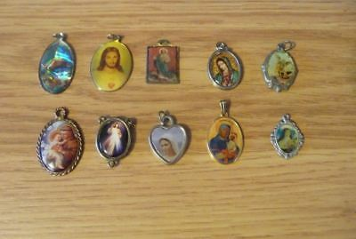 Vintage Christian Religious antique Holy color enamel Medals-lot of 10 #4