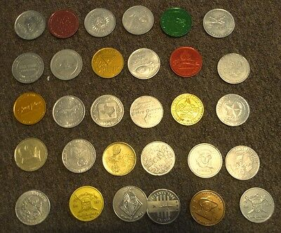 Vintage Lot of 30 TOKENS Multi Color Aluminum DISNEY/VEGAS/OTHER coins!