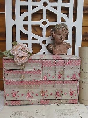 EXQUISITE ANTIQUE FRENCH FABRIC COVERED BOX 4 DRIVERS BOUDOIR LOVELY ROSE 19th