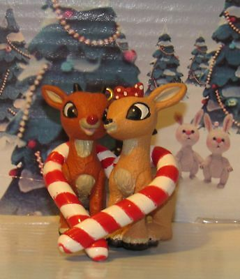 Rudolph and Clarice Miniature Ornament Red Candy Cane Heart shape