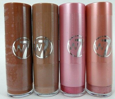 4 x W7 Lipstick (in the buff, pink shimmer, silk, rasberry ripple)