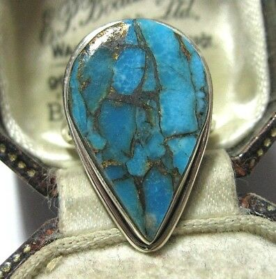 Beautiful Sterling Silver Real Blue Copper Gold Turquoise Stone RING M 1/2 6.5