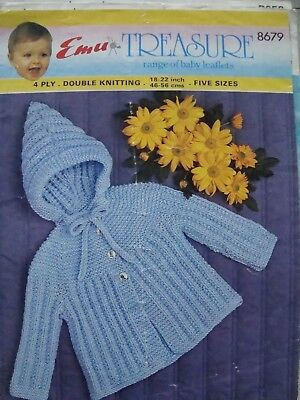 471182cf2a9eb EMU 8679 BABY S Jacket DK or 4 Ply Vintage Knitting Pattern Sizes 18 ...