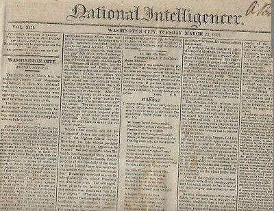 1813 Wash Dc Newspaper. Act Concerning Slaves-Treatment Of Americans In Canada
