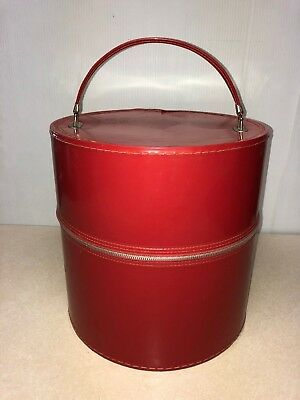 Classic Vtg Red Vinyl Round Wig Hat Box Train Case Floral Interior Wig Head