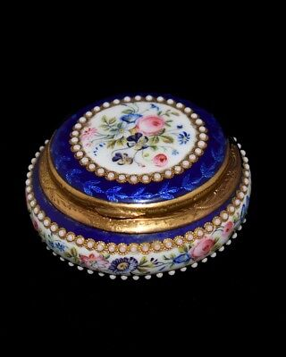 Stunning Antique French Enamel Brass Jeweled and Hand Painted Pill/Patch BOX