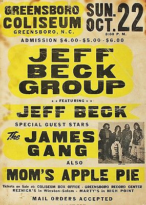 "Jeff Beck Greensboro 16"" x 12"" Photo Repro Concert Poster"