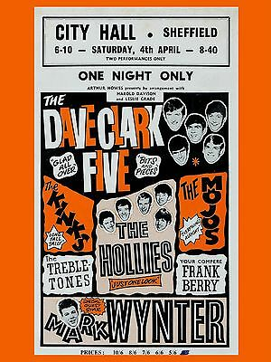 "Dave Clark Five Sheffield 16"" x 12"" Photo Repro Concert Poster"