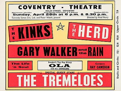 "Kinks / Tremeloes Coventry 16"" x 12"" Photo Repro Concert Poster"