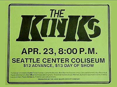 "The Kinks Seattle 16"" x 12"" Photo Repro Concert Poster"