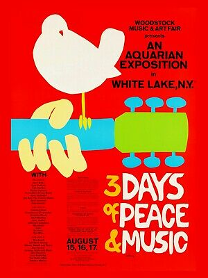 "Woodstock Classic 16"" x 12"" Photo Repro Concert Poster"