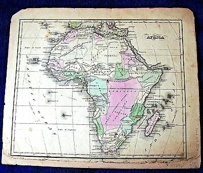 AFRICA MAP ca 1820 antique hand colored US publisher whole continent Madagascar