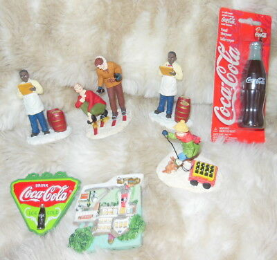 Lot of 7 Small Collectible Coca-Cola / Coke Items. Magnets Figurines & More