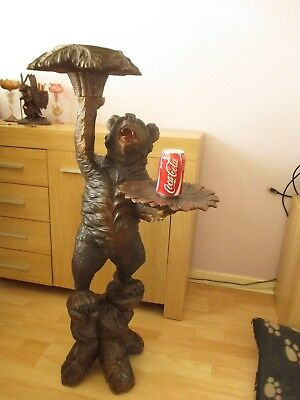 "Antique Large 41"" Standing Black Forest Bear Plant Holder Swiss Wood Carving"