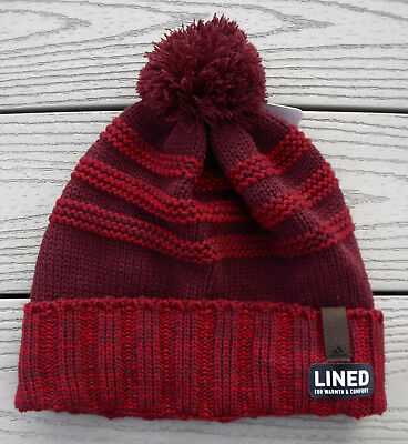 950be8bb70772 NWT ADIDAS ClimaWarm Recon Ballie Mens Fleece Lined Pom Knit Beanie-OSFM   26 RED