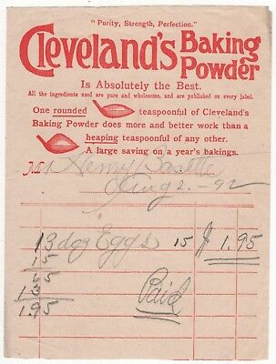 Cleveland's Baking Powder Vintage Illustrated Receipt for Eggs