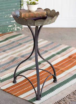 Country new distressed gray metal Fluted Garden Table / nice