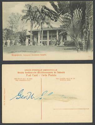 Singapore Old Postcard European Residence Tanglin, Malaya Traveller's Palm Trees