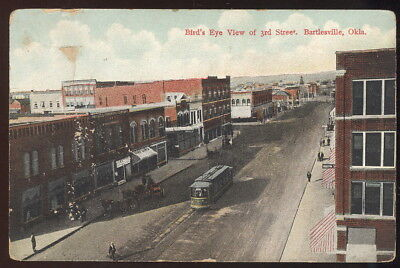 Early Picture Pc, Bird's Eye View Of 3Rd Street, Bartlesville, Ok. Trolley
