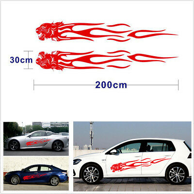 Pair Red Leopard Head Flame Stripes Car Side Vinyl Stickers Universal 195x35.5cm