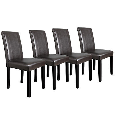 Dining Room Chairs Set of 4 Formal Parson Chairs w/Leather Accent Solid Wood LEG