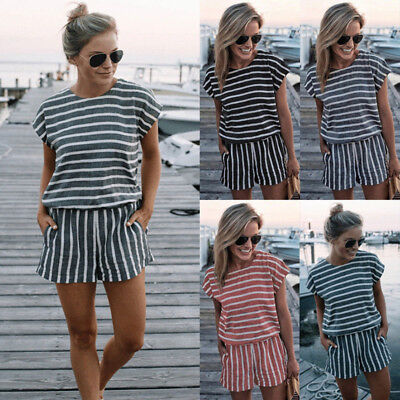 UK Womens Holiday Short Sleeve Playsuit Summer Beach Shorts Jumpsuit Mini Dress