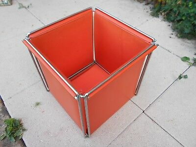 Ancienne Corbeille A Papier Bureau Max Sauze Design Epoque 1970 Orange Pop
