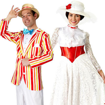 Mary Poppins or Bert Jolly Holiday Fancy Dress Disney Movie Adults Costumes New