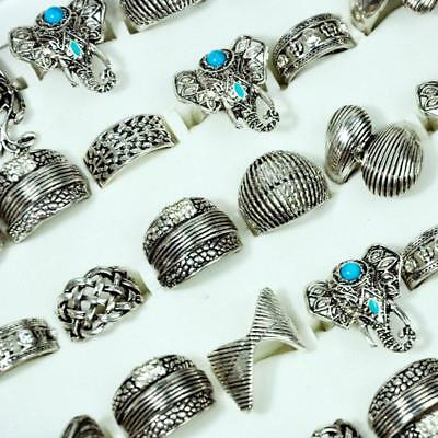 6pcs Ancient Silver Vintage Elephant mix Style Rings Women wholesale jewelry BFP
