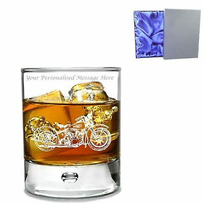 Personalised Bubble Base  Whisky Glass - Harley Davidson Motif in Silk Lined Box