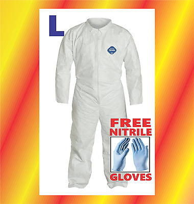 LARGE Tyvek Protective Coveralls Suit Hazmat Clean-Up Chemical with FREE GLOVES
