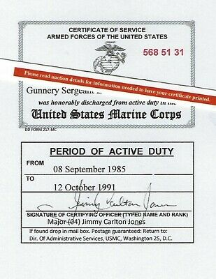 U.S. Marine Corps Honorable Discharge Laminated  Card 2 1/8 X 3 3/8