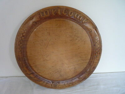 Antique Victorian Carved Wooden Bread Board Chopping Board Kitchenalia `Welcome`