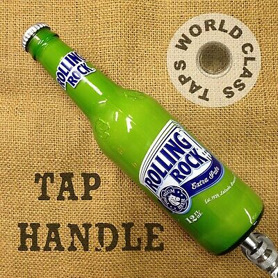 ROLLING ROCK lime green beer tap handle real bottle KEGERATOR BAR MARKER latrobe