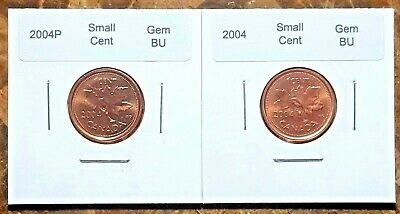 Canada 2004P and 2004 Small Cents Gem BU UNC Set!!