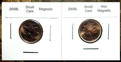 Canada 2009L Magnetic & Non-Magnetic Small Cents BU UNC Gem Set!!
