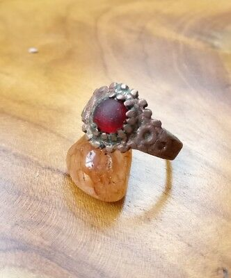 Medieval ring red stone Antique Old detector find NO damage wearable Mothers Day