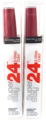 (2) Maybelline Super Stay 2-Step Lip Color Stain New 010 - Reliable Raspberry