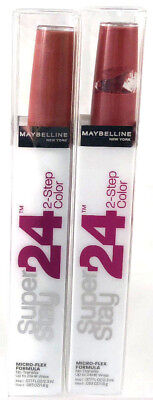 (2) Maybelline Super Stay 2-Step Lip Color Stain New 055 - Perpetual Plum