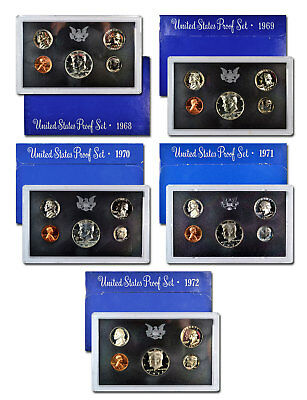 1968-1972-S U.S. Mint Blue Box Proof Coin Set Collection GEM Proof SKU54846