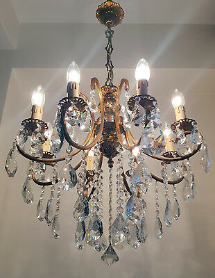 Antique 8 arms 8 lights Cast Brass & Crystals Chandelier from 1950's