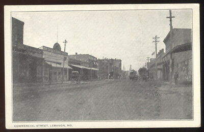 Early Sepia Photo Post Card, Commercial Street, Lebanon, Mo. Storefronts