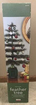 """Martha Stewart 24"""" Feather Christmas Tree Winter Jubilee Collection Green Glass"""
