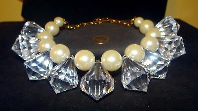 Lavish Vintage signed JULIE RUBANO Huge massive lucite cones & Pearl Necklace