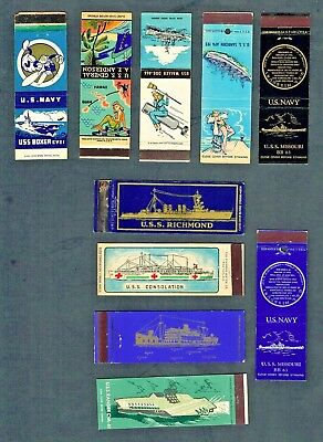 Matchbook Covers Lot of (10) US Navy Ships 20-Strikes Some Full Color (C1)