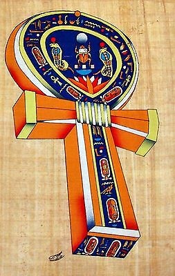 Egyptian Hand-Painted Papyrus Signed Artwork: The Ankh, Symbol of Life IMPORTED