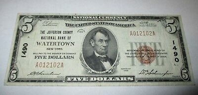 $5 1929 Watertown New York NY National Currency Bank Note Bill Ch. #1490 VF++