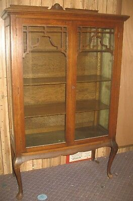 Vintage Antique 4-Shelf Wooden & Glass Display Curio China Cabinet Pick-Up Only