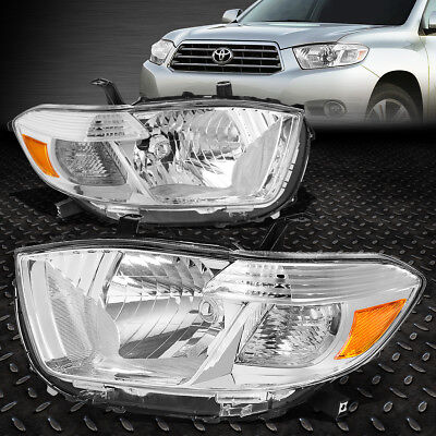 For 2008-2010 Toyota Highlander Pair Chrome Housing Amber Corner Headlight/lamps